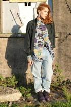 vintage shirt - doc martens boots - sky blue Levis Vintage jeans