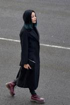 black oversized coat asos coat - maroon leather doc martens boots