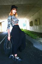 maxi skirt Zara skirt - cut out sammydress shoes - psyché print vintage top