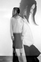 silver cotton Zara top - black oversized H&M coat - black cotton asos skirt