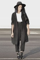 silver ring - black cut out buckle balenciaga shoes - black oversize asos coat