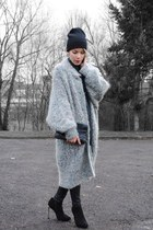 light blue angora vintage cardigan - dark gray black Boohoo boots