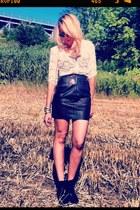 lace The Kooples blouse - black sam edelman boots - black asos bodysuit
