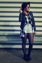 black and white Urban Outfitters shirt - combat boots doc martens boots
