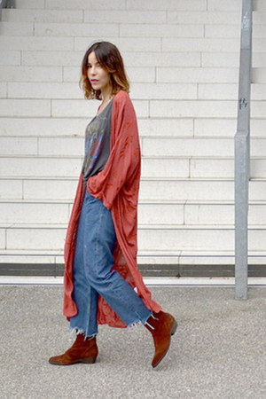 tawny ankle boots freepeople boots - carrot orange kimono Zara jacket