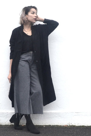 silver flair vintage pants - dark gray maxi long Yoins jacket