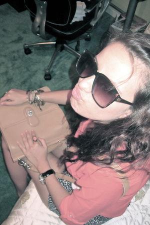 orange JCrew shirt - blue JCrew shorts - beige coach - black vintage sunglasses