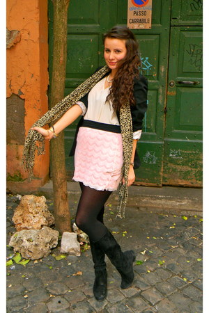 black LF stores blazer - eggshell BCBG top - bubble gum LF stores skirt