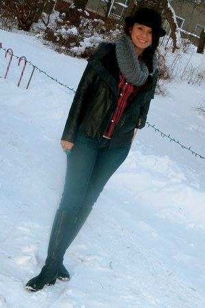black BCBG jacket - brick red LF stores shirt - heather gray shopnastygal scarf