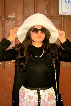 off white H&M hat - black JCrew top - bubble gum LF stores skirt