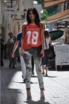 tie-dye Mango jeans - Ebay purse - ankle strap Mango sandals