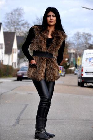 biker Deichmann boots - Tally Weijl sweater - leather Vero Moda pants