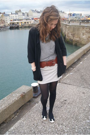 black Primark blazer - gray Zara top - beige Primark skirt - beige Primark shoes