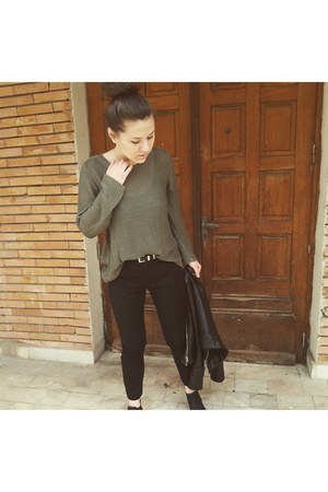 black deichman shoes - black H&M jacket - olive green H&M sweater