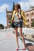 yellow Zara blazer - black Forever 21 purse - black Marc by Marc Jacobs bag