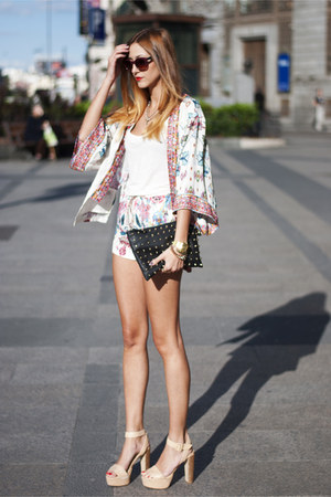 maroon Zara jacket - black Primark bag - blue Zara shorts