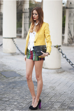 yellow Zara blazer - white H&amp;M shirt - black Marc by Marc Jacobs bag