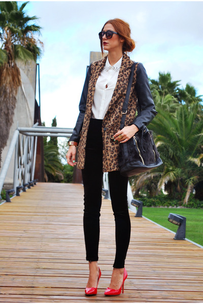 pull&bear coat - Mango leggings - suiteblanco shirt - Stradivarius bag