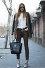 Black-pull-bear-coat-white-zara-shirt-black-zara-bag-brown-zara-pants