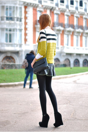 black Zara bag - white Zara shirt - olive green Mango jumper