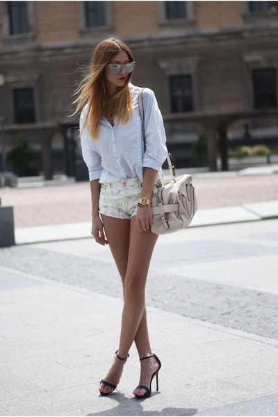 light blue Zara shirt - eggshell Zara bag - eggshell Zara shorts
