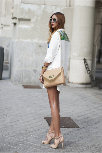 nude Zara bag - ivory designed by myself dress - nude Zara heels