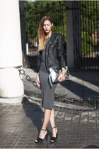 black Sfera jacket - heather gray Miss Selfridge dress - silver Zara bag