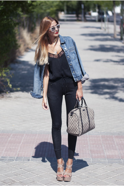 black lingerie Zara top - navy denim Mango jacket - camel Gucci bag