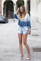 silver Zara bag - blue Mango shirt - blue Mango shorts - silver Primark sandals