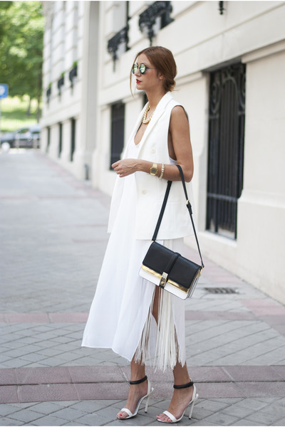 white Zara dress - gold Zara bag - aquamarine chicnova sunglasses