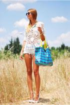 white Bershka shorts - sky blue Glamour bag - white Chicwish top