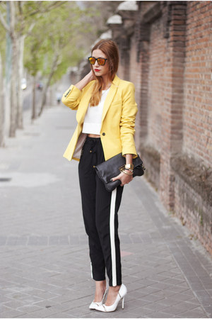 white H&M top - yellow Zara blazer - black Marc by Marc Jacobs bag