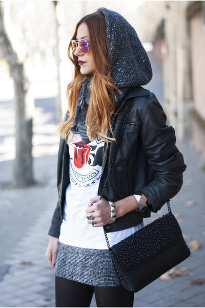 black Zara bag - black Zara boots - black Zara jacket - magenta H&M sunglasses