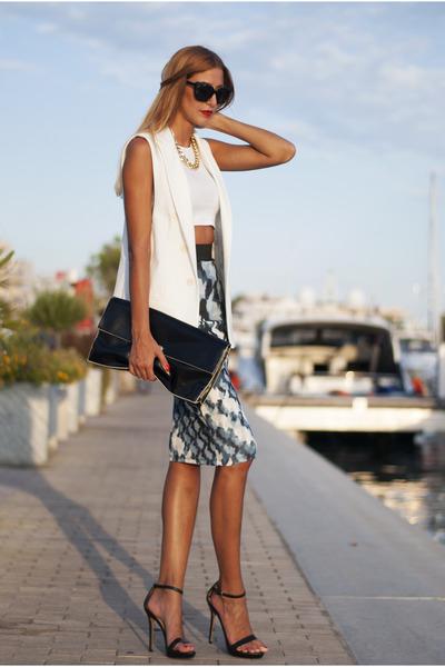 black Zara bag - white H&M top - blue Zara skirt - white Zara vest
