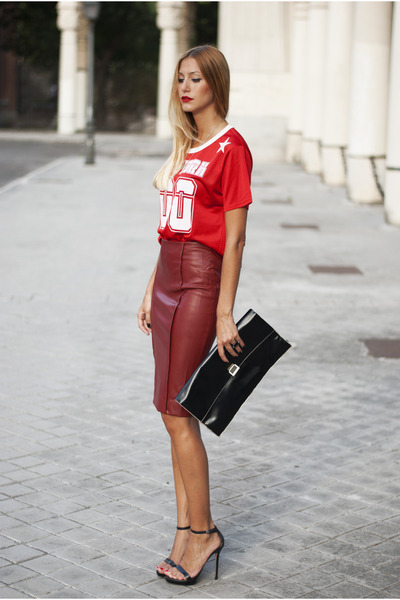 black Zara bag - brick red Zara skirt - red Sheinsidecom top
