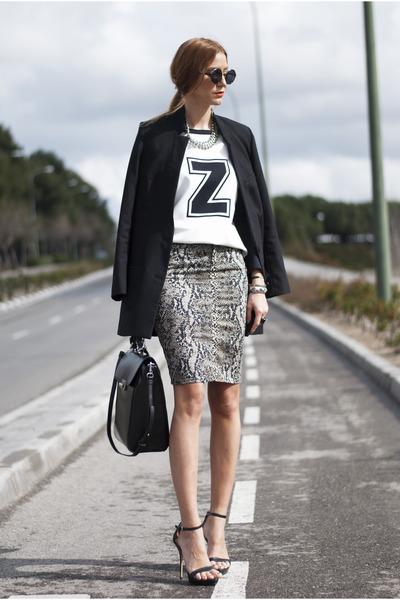 light brown Zara shirt - black H&M blazer - black Zara bag - black Zara sandals