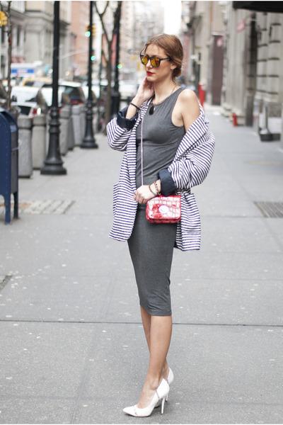 white Primark coat - charcoal gray Miss Selfridge dress