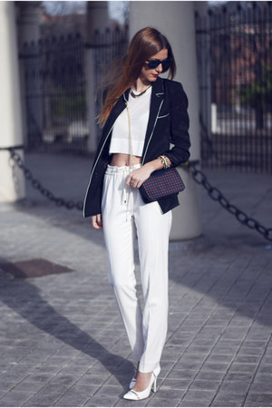 white Aldo heels - black Zara blazer - navy Zara bag - white Massimo Dutti pants