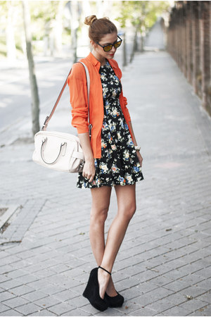 Kristines collection dress - Mango shirt - Zara bag - The Fab Shoes wedges