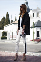 white adidas t-shirt - dark gray Zara coat - black Zara bag