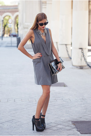 black Zara boots - charcoal gray Zara dress - black Zara bag
