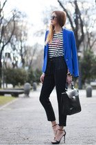 blue Zara blazer - black Zara bag - white Zara sunglasses - black Zara sandals