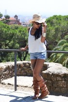 burnt orange boots - aquamarine H&M hat - sky blue shorts
