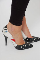 Vintage 80s Novelty Moon Face Leather Pumps