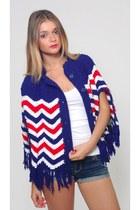 Vintage Americana Knit Poncho