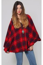 Vintage Red Plaid Wool Poncho