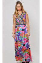 Vintage 60s Psychedelic Print Maxi Dress