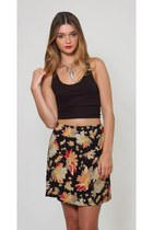 Vintage Floral Black Mini Skirt