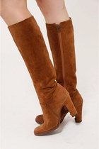 Vintage 70s Mocha Suede Knee High Boots