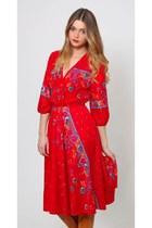 Vintage Red Floral Midi Dress